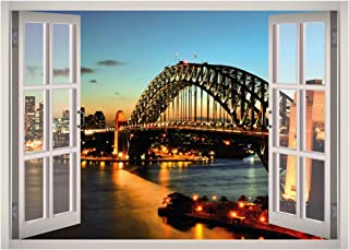 Sydney Harbour Bridge View Window 3D Wall Decal Art Removable Wallpaper Mural Sticker Vinyl Home Decor West Mountain W64 (LARGE (49''W x 35''H))