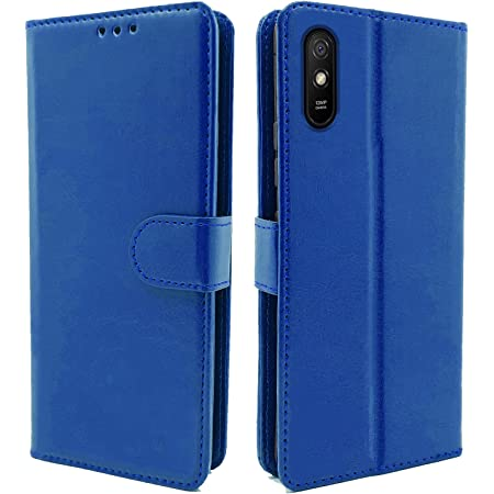 Pikkme Redmi 9A / 9i Leather Flip Cover Wallet Case for Redmi 9A / 9i (Blue)