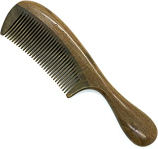 Fine tooth Comb/Wooden Comb/ – One&One Green Sandalwood comb for women curly hair. Detangling Hair comb.
