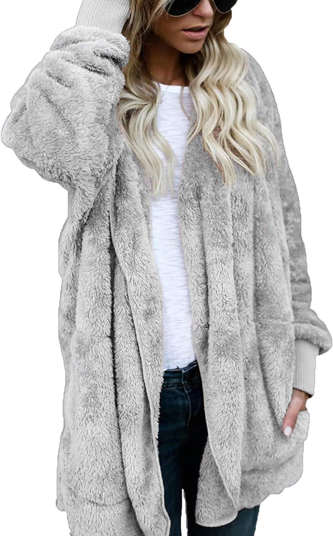 unisex ThusFar Women Fuzzy Fleece Jacket Coa Front Open Cardigan Hooded Now on sale