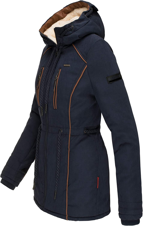 Marikoo Damen Winter Jacke Stepp Parka Mantel Winterjacke Teddyfell warm gefüttert XS - XXL 6 Farben Maiglöckchen Blau
