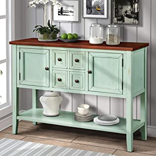 Romatlink Classic Buffet Table Series Side Cabinet,Sideboard 4 Storage Drawers Two Cabinets and Bottom Shelf ,Retro Blue