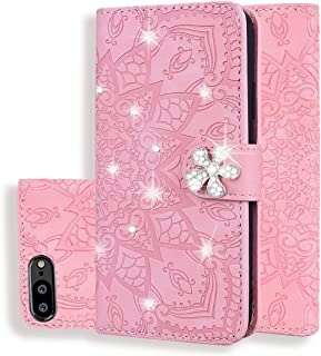 For Huawei Y6 (2018) Calf Pattern Diamond Mandala Double Folding Design Embossed Leather Case with Wallet & Holder & Card Slots New (Brown) Hopezs (Color : Pink)