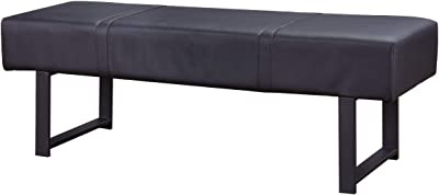 Benjara Faux Leather Upholstered Metal Bench with Stitched Top, Black
