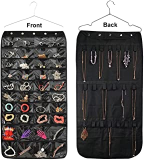 LoveBuy Hanging Jewelry Travel Organizer 40/56 Pockets Zippered Storage Pockets Closet Storage for Earrings Necklace Bracelet Ring Display Pouch (40 Pockets)