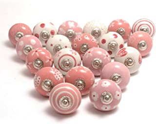 Eleet Assorted Ceramic Cabinet Knobs - Vintage Cabinet Cupboard Door & Drawer Pulls Chrome Hardware (20, Pink & White)