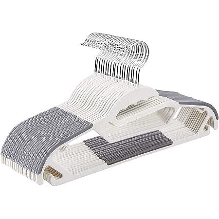 [Amazonブランド] Umi(ウミ) 衣類ハンガー すべらない 頑丈 薄く、滑り止めプラスチックのハンガー、特殊加工 スリムなマジックハンガー 頑丈 クローゼットハンガー (グレー, 20)