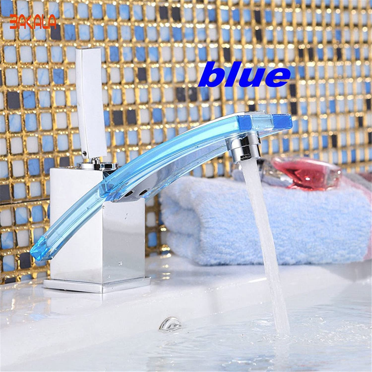 S-Senrohy Younger Modern Bathroom Faucet Basin Mixer Brass Glass Tap Chromed bluee