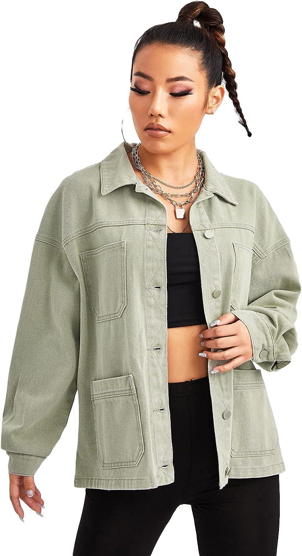 MakeMeChic Women's Boyfriend Long Sleeve Drop Shoulder Denim Cargo Trucker Jacket