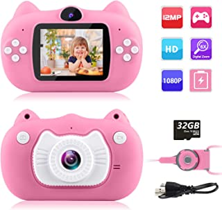 GKTZ Kids Camera Digital Dual Lens Video Cameras for Children Toys Camcorder with 2 Inch IPS Screen 12MP 1080P HD Toddler Cameras Gifts for Kids 3 - 10 Year Old Boys Girls with 32GB Memory Card Pink