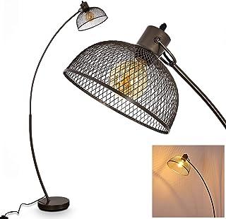 Lámpara de pie Randershof en metal, gris acero, 1 x E27 max 60 vatios, efecto de iluminación en la pared, adecuado para bombillas LED, ideal para salón