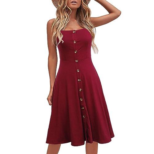 a060c78ef61d3 Berydress Women s Casual Beach Summer Dresses Solid Cotton Flattering  A-Line Spaghetti Strap Button Down