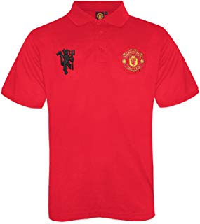 Manchester United FC Official Gift Boys Crest Polo Shirt Red 8-9 Years MB Soccer