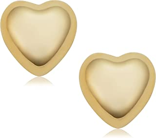 KoolJewelry 14k Yellow Gold Small Petite Heart Stud Earrings