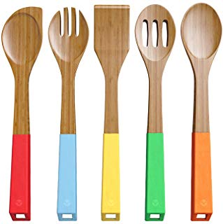 Vremi 5-Piece Bamboo Kitchen Utensil Set - Wooden Spoons and Cooking Utensils with Colorful SIlicone Handles - Nonstick Spatula Turner Mixing Forked and Slotted Wood Spoons with BPA Free Hanging Holes