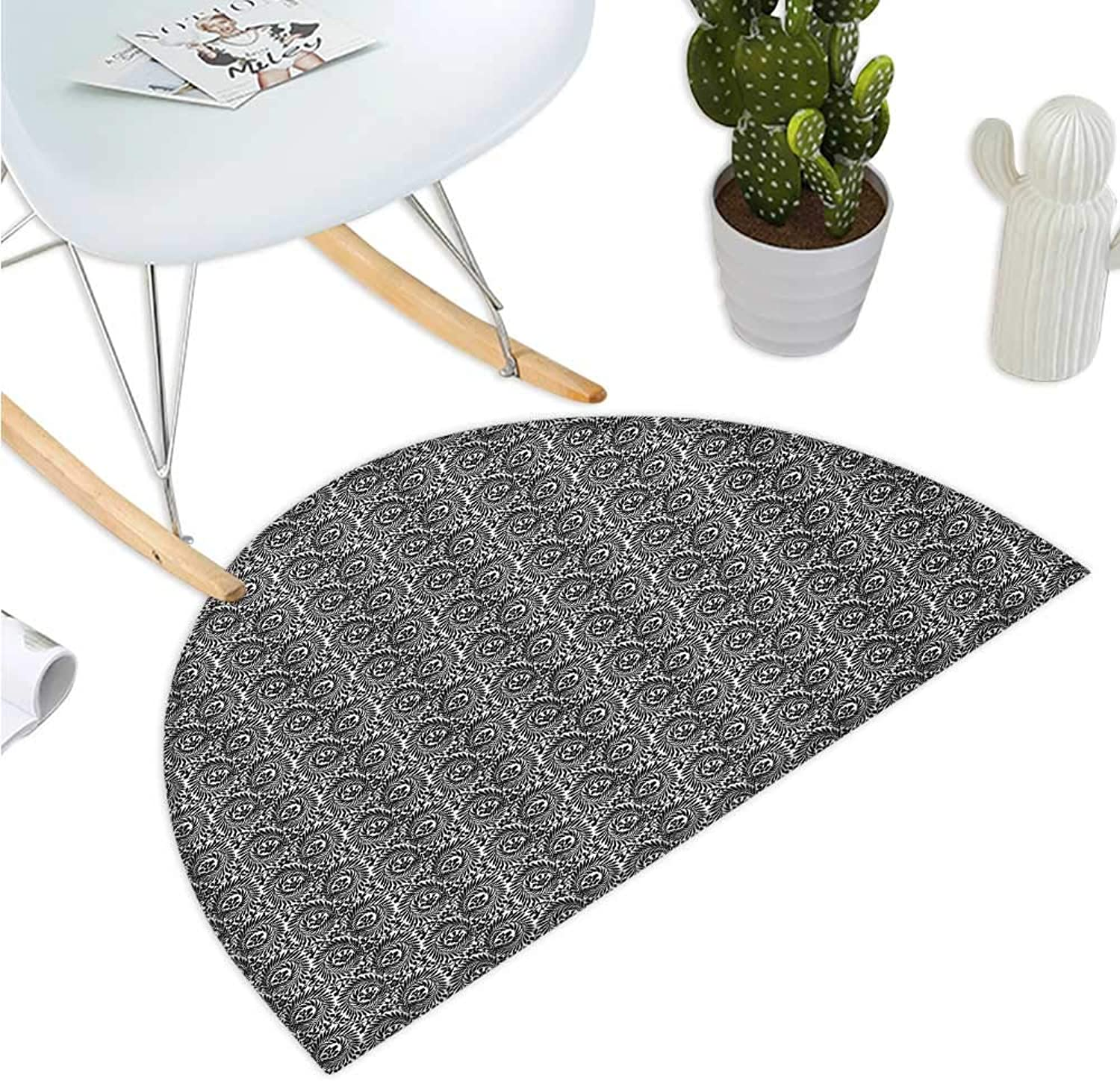 Black and White Semicircular Cushion Little Spring Blossoms and Swirled Leaves Botanical Retro Pattern Halfmoon doormats H 39.3  xD 59  Black and White