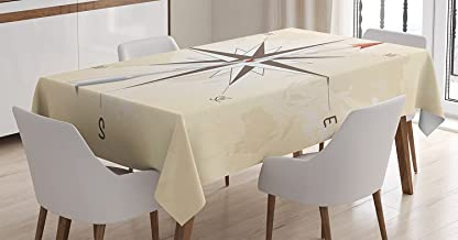 Ambesonne Compass Decor Tablecloth, Compass Rose with Metal Arrow on Vintage Grungy Background Travel Navigation Art, Rectangular Table Cover for Dining Room Kitchen, 60x84 Inches, Beige Red