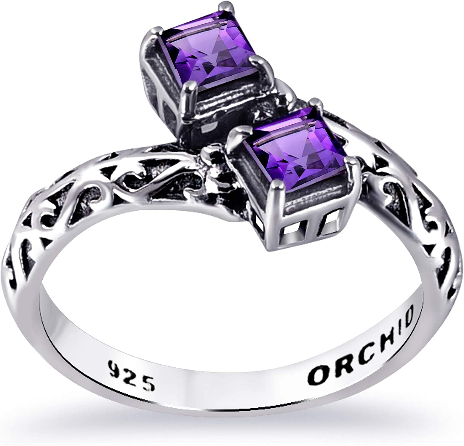 Orchid Jewelry Sterling Silver Miami Mall Stackable Women Purple supreme For Ring