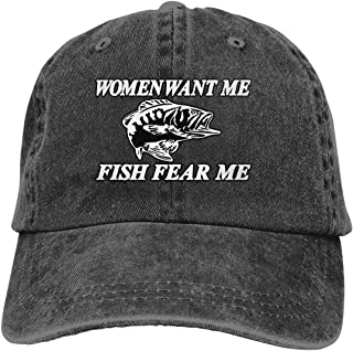 Women Want Me Fish Fear Me Classic Baseball Cap Trucker Hat Adult Unisex Adjustable Dad Hat