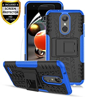 LG Aristo 2 Case,Aristo 3/Aristo 2 Plus/3Plus/K8 2018/K8+/Tribute Empire/Tribute Dynasty/Zone 4/Fortune 2/Risio 3/Rebel 4/Phoenix 4/K8S,Dual Layer Shockproof,w HD Screen Protector,Tire Appearance-Blue