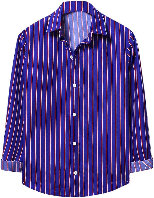Burband Mens Fashion Vertical Striped Long Sleeve Casual Button Down Dress Shirts Hip Hop Graphic Tees Shirts