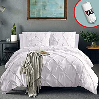 Vailge 3 Piece Pinch Pleated Duvet Cover with Zipper Closure, 100% 120gsm Microfiber Pintuck Duvet Cover, Luxurious & Hypoallergenic Pintuck Decorative(White, Queen)