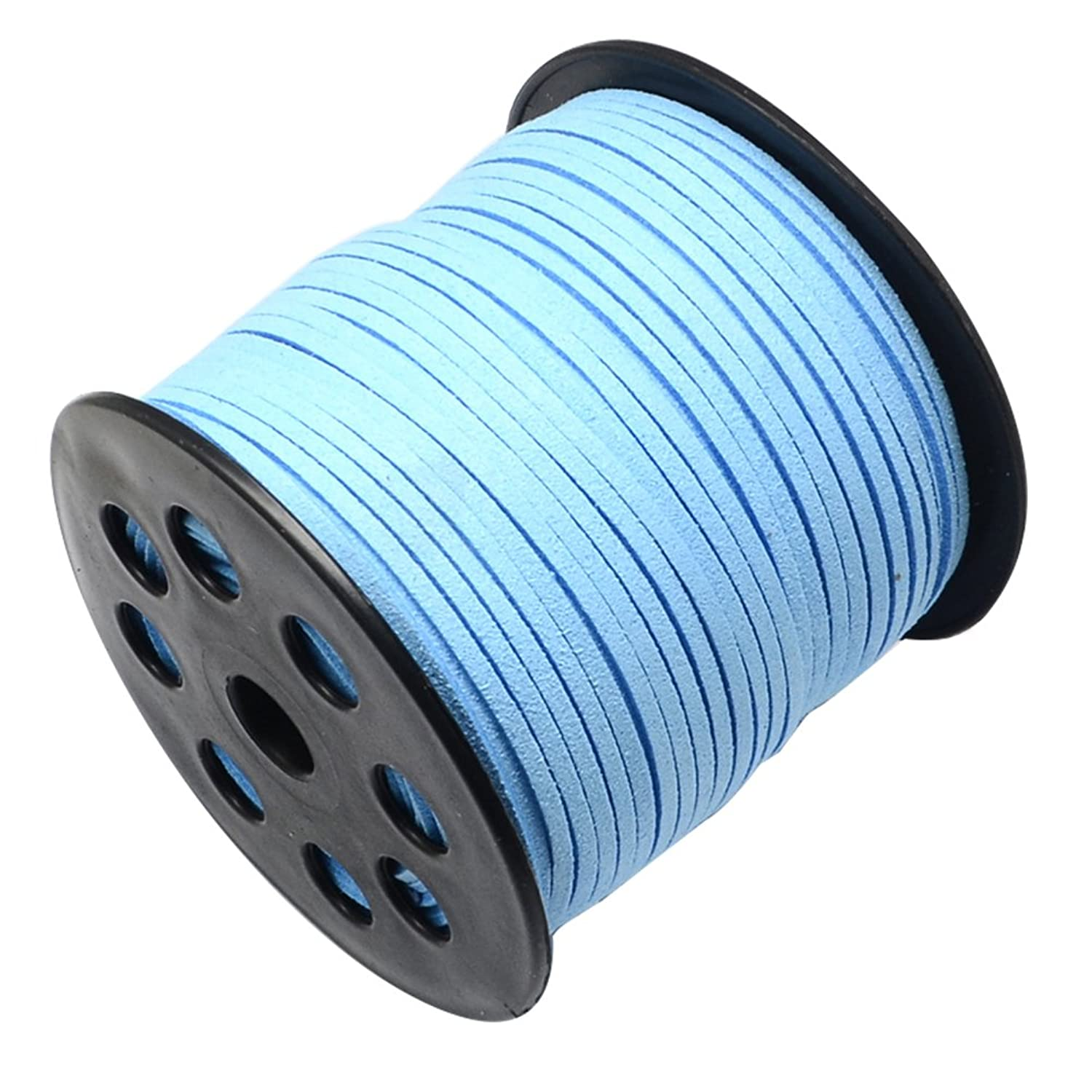 NBEADS 3mm 98 Yards/Roll Light Sky Blue Color of Micro Fiber Lace Flat Environmental Faux Suede Leather Cord Beading Thread Cords Braiding String for Jewelry Making