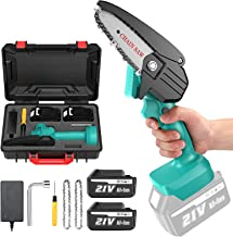 Seesii 4inch Mini Electric Chainsaw, Cordless Chain Saw Electric Pruning Shears Saw Extra Backup Rechargeable Lithium Batt...