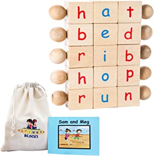 Montessori Phonetic Letter Blocks for Reading and Early Learning (5-Piece Set) English Educational Toys for Boys & Girls |...