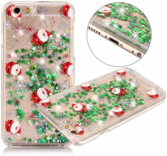 Amazon Com For Iphone 8 Plus Funny Case Christmas Case Fusicase Merry Christmas Tree Rudolph Santa Claus Pattern Flowing Liquid Floating Luxury Bling Glitter Sparkle Case For Iphone 8 Plus Electronics