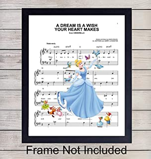 Cinderella Sheet Music - Wall Art Print - Ready to Frame (8X10) Photo - Perfect Gift For Baby Girl Room, Nursery, Disney World Fans - Disneyworld - Great For Home Decor