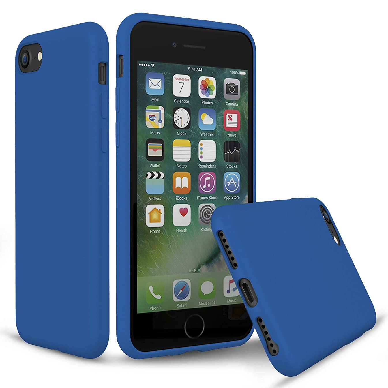 PENJOY Silicone Case for Apple iPhone 6 / 6s / 7/8, Full Body Protection Silicon Cases Support Wireless Charging Slim Rubber Cover, Cobalt Blue