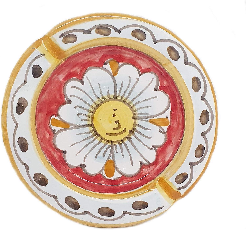 Sicilia Bedda POSACENERE IN CERAMICA SICILIANA Fiore Bianco Elegante complemento darredo per Casa e Ufficio