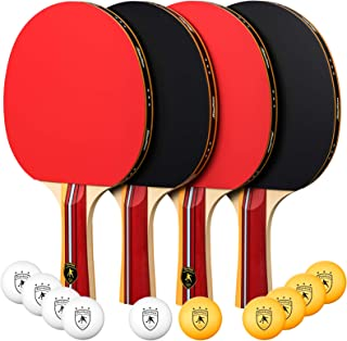 OlymOlym Ping Pong Paddle and Table Tennis Set, Pack of 4 Premium Rackets and 10 Table Tennis Balls -Ideal for Team Play and Family Games