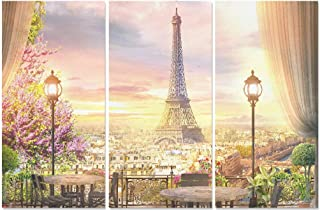 YUMOING 3 Panel Canvas Wall Art Beautiful View Balcony Cafe On Paris Wall Art Canvas Prints Wall Decor for Home Living Room Bedroom Bathroom Wall Decor Posters 15
