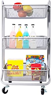 DESIGNA 3-Tier Metal Mesh Rolling Storage Cart with Utility Handle, Small Cart, Gray
