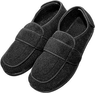 Cozy Ankle Men's Extra Wide Adjustable Diabetic Recovery Slippers Edema, Swollen Feet Footwear Orthopedic Indoor/Outdoor Walking Shoes