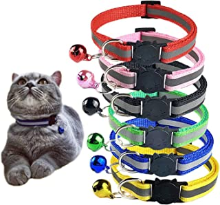 Set of 8 Pcs, 6 Pcs Cat Collars with Bell and 2 Pcs Pet ID Tag Boxes, Breakaway Cat Collar with Bell, Reflective Nylon Cat...