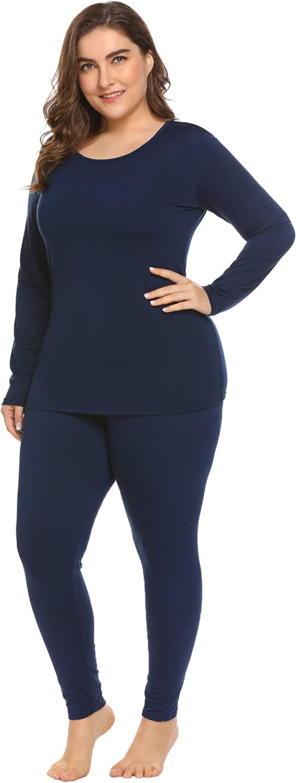 Chigant Women's Plus Size Thermal Underwear Set Fleece Lined Long Johns Set