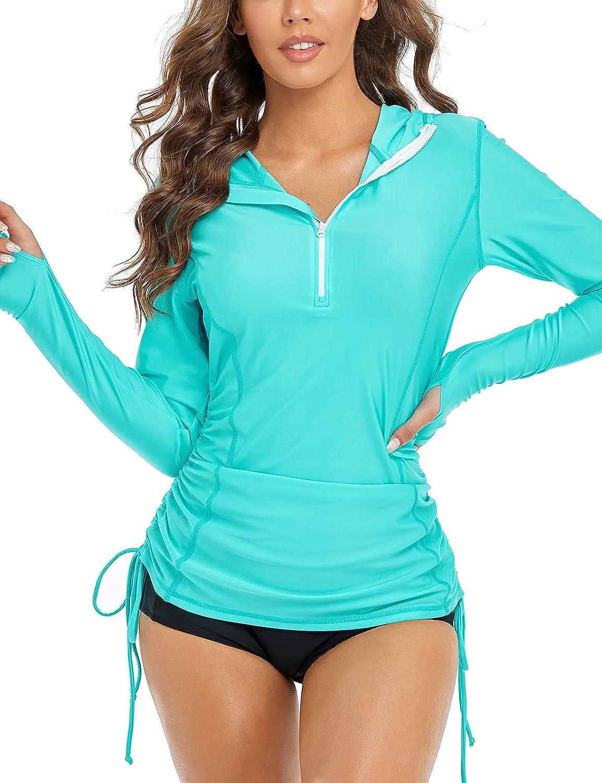 Inno Women's Long Sleeve Hooded Guard Las Vegas Mall Adjustable Rash Shirt Max 42% OFF Ruch