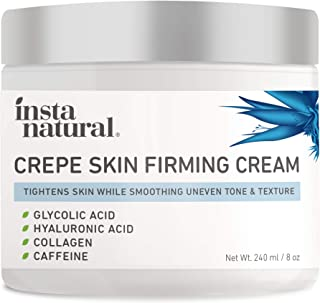 InstaNatural Crepe Firming Cream - Crepey Skin Repair Treatment, Anti-Aging, Anti-Wrinkle, Natural Ingredients for Face, Neck, Chest, Legs & Arms - Hyaluronic Acid, Alpha Hydroxy, Collagen & Caffeine