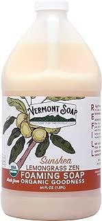 Vermont Soap SunShea Organic Lemongrass Foaming Hand Soap, USDA Certified Organic Moisturizing Soap for Dry Skin 1/2 Gallon Refill (64oz Lemongrass Zen)