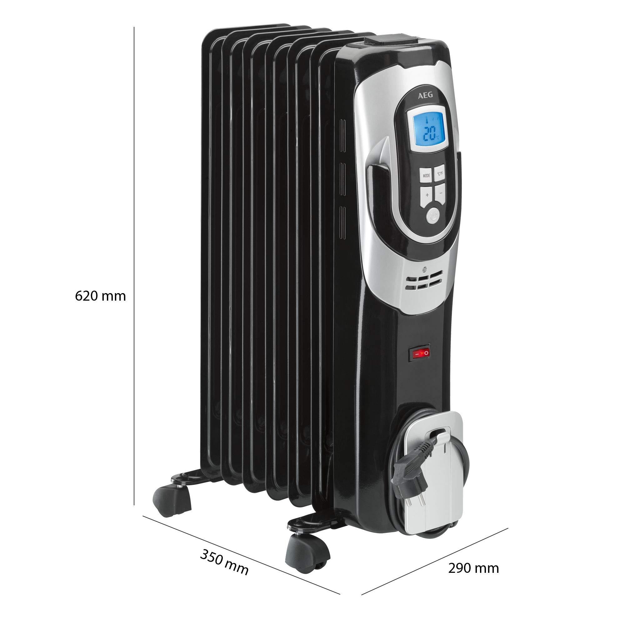 AEG RA 5587 - Radiador de aceite, 1500 W, 7 elementos, programable, pantalla digital, 3 niveles de potencia, regulador de potencia para un bajo consumo: Amazon.es: Hogar