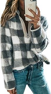 Angashion Women's Long Sleeve 1/4 Zip Up Lapel Fleece Sweatshirt Warm Plaid Fluffy Hoodies Pullover