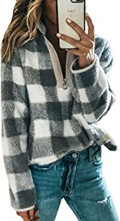 Women's Long Sleeve 1/4 Zip Up Lapel Fleece Sweatshirt Warm Plaid Fluffy Hoodies Pullover