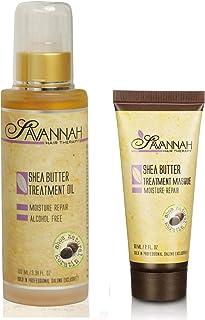(100 ml + Free Mask 60 ml) - Savannah Hair Therapy Shea Butter Treatment Oil 100 ml and Free Savannah Hair Therapy Shea Bu...