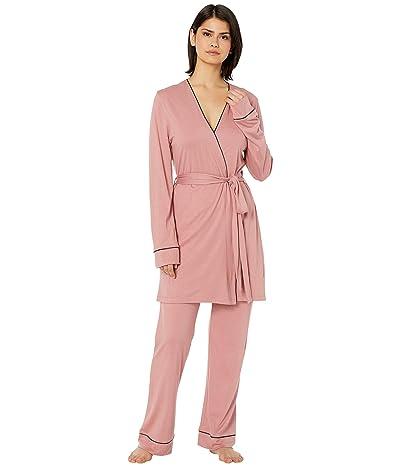Cosabella Bella Curvy Racerback Camisole Pants Rib Set (Pink Terracotta/Navy Blue) Women