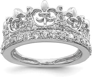 925 Sterling Silver Fleur De Lis Crown Cubic Zirconia Cz Band Ring Fine Jewelry For Women Gift Set