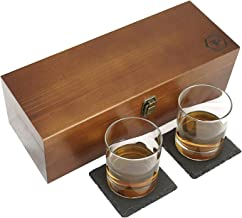 Fine Pursuits Whiskey Stones Gift Set - Whiskey Glass Set - Bourbon Glasses, Stone Coasters & Whiskey Rocks - Anniversary Gifts for Men, Groomsmen Gifts, Retirement Gifts, Boyfriend Gifts & Dad Gifts