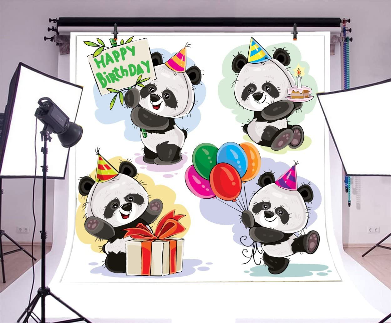 Yeele 10x8ft Happy Birthday Photography Background Cartoon Panda Bamboo Colorful Dot Birthday Party Decoration Baby Photo Backdrop Studio Props Video Drape